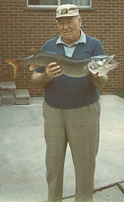 Joe Schulte in later years with a large pike