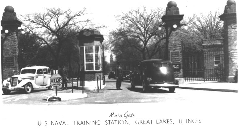 post card of Great Lakes Naval Station in Illinois, 1945