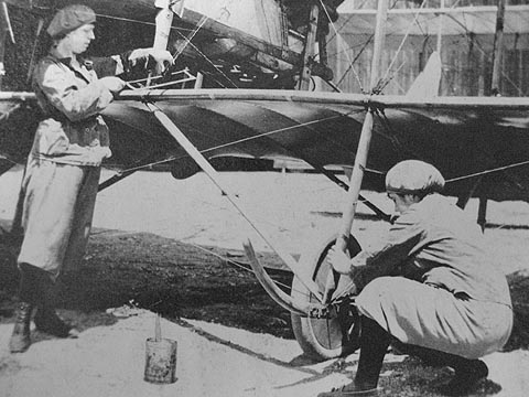 Women repairing airplane