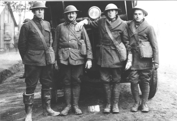 Joseph Schulte and fellow soldiers - he wrote home, I have a mustache now